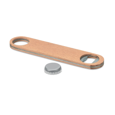 Picture of STAINLESS STEEL METAL SPEED BOTTLE OPENER with Wood Surface