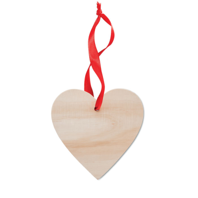 Picture of WOOD HEART SHAPE DECORATION HANGER with Red Ribbon