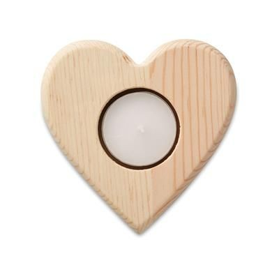 Picture of HEART SHAPE WOOD TEA LIGHT CANDLE HOLDER