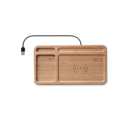 Picture of DESK STORAGE DESK BOX in Bamboo with Cordless Charger