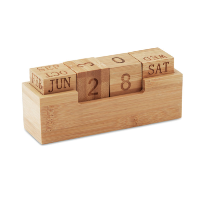 Picture of BAMBOO CUBE BLOCK PERPETUAL DESK TOP CALENDAR
