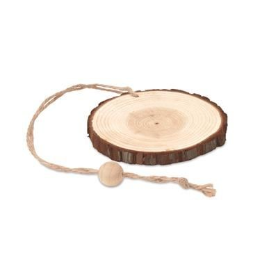 Picture of ROUND WOOD DECORATION HANGER with Bark Edging & Cord