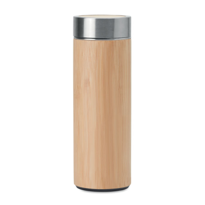 Picture of DOUBLE WALL STAINLESS STEEL METAL MUG with Bamboo Cover Insulating Vacuum Flask 400ml Capacity with