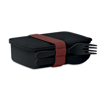Picture of LUNCH BOX in Bamboo Fibre & PP in Black