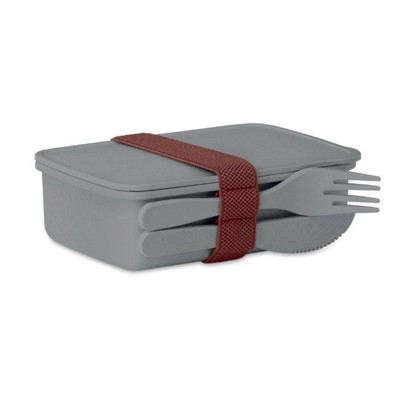 Picture of LUNCH BOX in Bamboo Fibre & PP in Grey