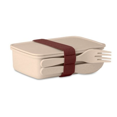 Picture of LUNCH BOX in Bamboo Fibre & PP in Beige