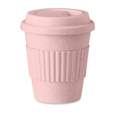 Picture of SINGLE WALL TUMBLER in Bamboo Fibre & Pp with Lid & Grip