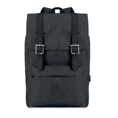 Picture of COMPUTER BACKPACK RUCKSACK in 600d 2 Tone Polyester with Padded Shoulder Strap Including One Main In