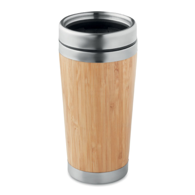 Picture of BAMBOO FINISH STAINLESS STEEL METAL DOUBLE WALL TRAVEL CUP with Pp Lid