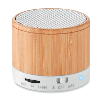 Picture of ROUND BAMBOO CORDLESS SPEAKER
