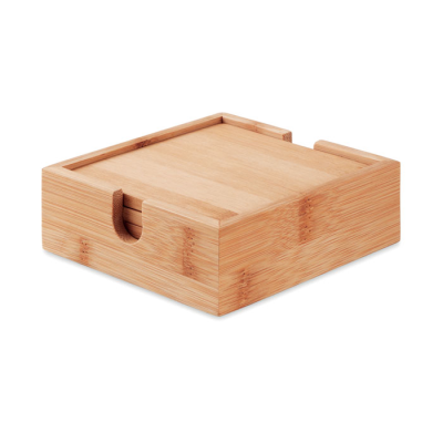 Picture of 4 BAMBOO COASTERS AND HOLDER
