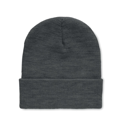 Picture of BEANIE HAT IN RPET with Cuff in White & Black