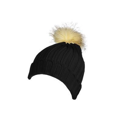 Picture of 100% ACRYLIC DEEP RIBBED KNIT BEANIE in Black