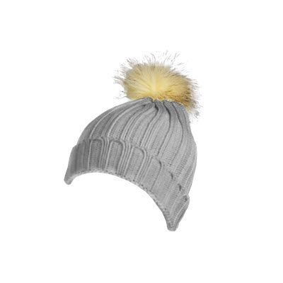 Picture of 100% ACRYLIC DEEP RIBBED KNIT BEANIE in Grey