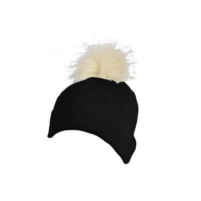 Picture of 100% ACRYLIC FLAT RIBBED KNIT BEANIE in Black