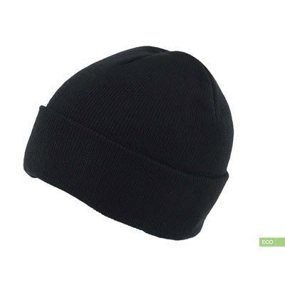 Picture of 100% RECYLED POLYESTER KNITTED BEANIE With Turn-Up in Black