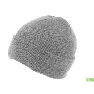 Picture of 100% RECYCLED POLYESTER KNITTED BEANIE HAT with Turn-Up in Grey