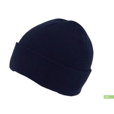 Picture of 100% RECYCLED POLYESTER KNITTED BEANIE HAT with Turn-Up in Navy Blue