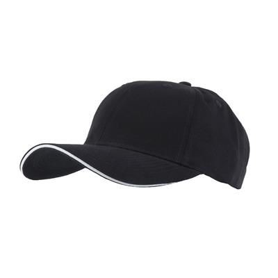Picture of FULLY COVERED 6 PANEL BASEBALL CAP in Black & White