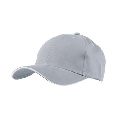 Picture of FULLY COVERED 6 PANEL BASEBALL CAP in Grey & White
