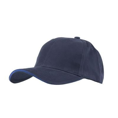 Picture of FULLY COVERED 6 PANEL BASEBALL CAP in Navy Blue & Royal Blue
