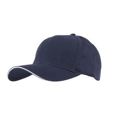 FULLY COVERED 6 PANEL BASEBALL CAP in Navy Blue & White
