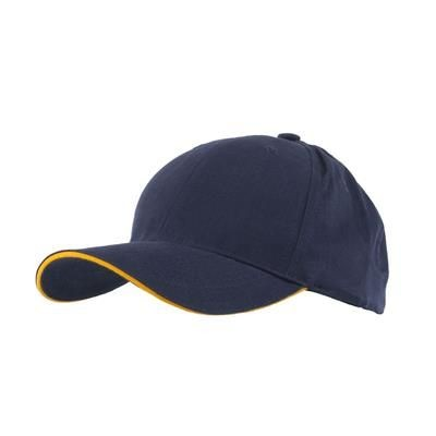 Picture of FULLY COVERED 6 PANEL BASEBALL CAP in Navy Blue & Yellow