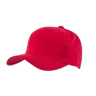 Picture of 100% BRUSHED COTTON 6 PANEL CHILDRENS BASEBALL CAP in Red