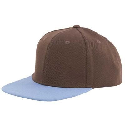 Picture of 100% ACRYLIC SNAPBACK BASEBALL CAP in Brown & Sky Blue