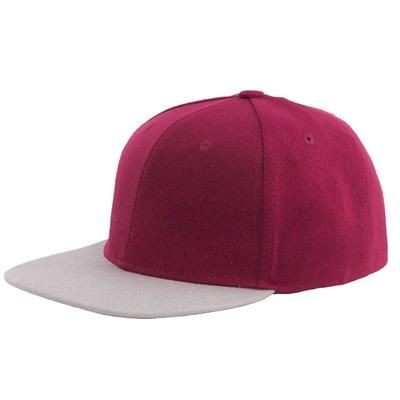 Picture of 100% ACRYLIC SNAPBACK BASEBALL CAP in Maroon & Grey