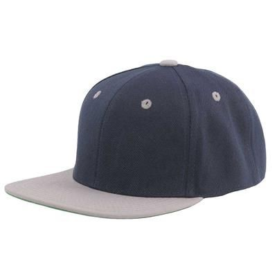 Picture of 100% ACRYLIC SNAPBACK BASEBALL CAP in Navy Blue & Grey