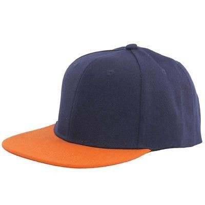 Picture of 100% ACRYLIC SNAPBACK BASEBALL CAP in Navy Blue & Orange