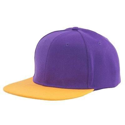 Picture of 100% ACRYLIC SNAPBACK BASEBALL CAP in Purple & Yellow
