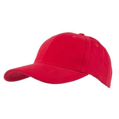 Picture of COTTON 6 PANEL BASEBALL CAP in Red