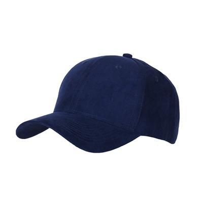 6 PANEL FAUX SUEDE POLYESTER CAP in Navy Blue