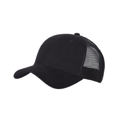 Picture of 100% COTTON FRONTED 6 PANEL TRUCKER CAP in Black
