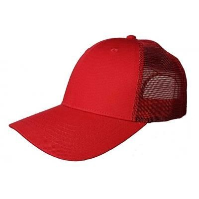 Picture of 100% COTTON FRONTED 6 PANEL TRUCKER CAP in Red