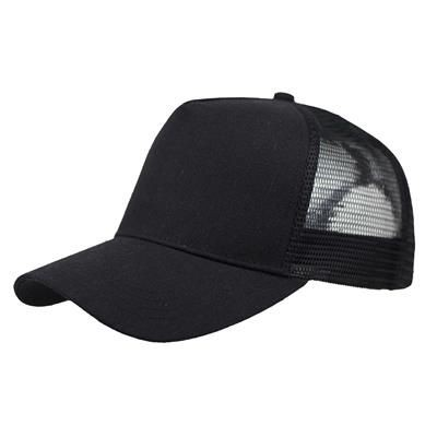 Picture of LINEN FRONTED 5 PANEL STRUCTURED TRUCKER BASEBALL CAP in Black