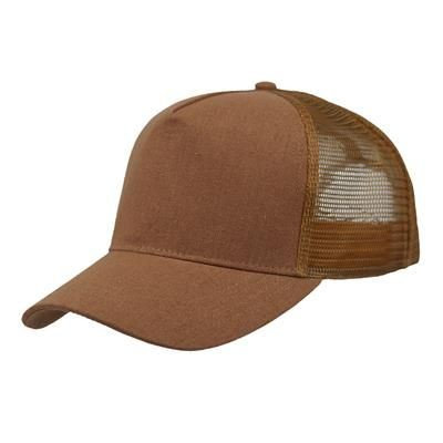 LINEN FRONTED 5 PANEL STRUCTURED TRUCKER BASEBALL CAP in Brown