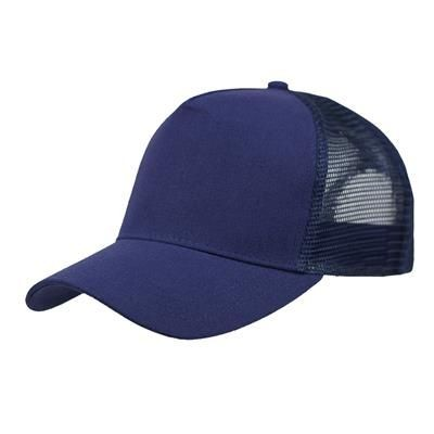 Picture of LINEN FRONTED 5 PANEL STRUCTURED TRUCKER BASEBALL CAP in Navy