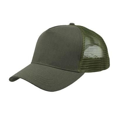 Picture of LINEN FRONTED 5 PANEL STRUCTURED TRUCKER BASEBALL CAP in Olive