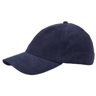 Picture of POLY-COTTON CORD 6 PANEL UNSTRUCTURED BASEBALL CAP in Navy