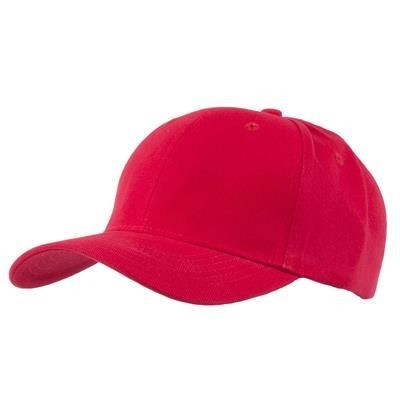 Picture of EXTRA HEAVY BRUSHED COTTON 6 PANEL BASEBALL CAP in Red