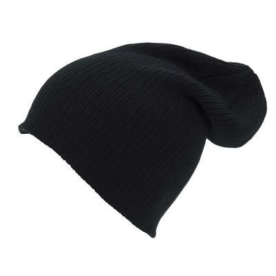 Picture of KNITTED ACRYLIC OVERSIZE BEANIE HAT in Black