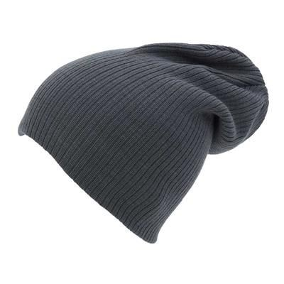 Picture of KNITTED ACRYLIC OVERSIZE BEANIE HAT in Grey