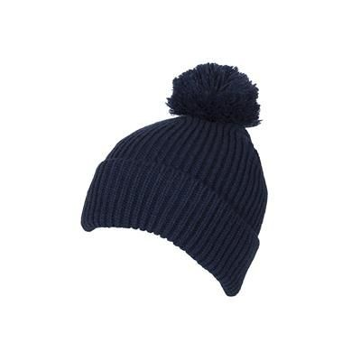 Picture of 100% LOOSE KNIT ACRYLIC RIBBED BOBBLE BEANIE HAT in Teal Green with Turn-up