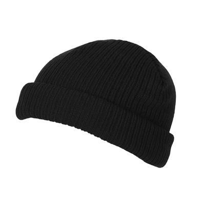 Picture of 100% SHORT FIT ACRYLIC RIBBED BEANIE HAT in Black with Turn-up