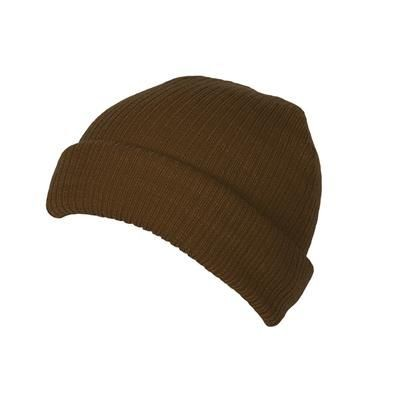Picture of 100% SHORT FIT ACRYLIC RIBBED BEANIE HAT in Brown with Turn-up