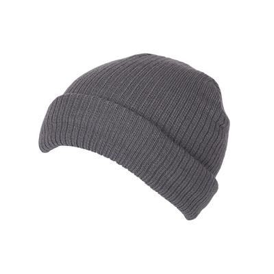 Picture of 100% SHORT FIT ACRYLIC RIBBED BEANIE HAT in Grey with Turn-up