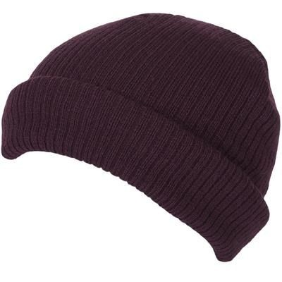 Picture of 100% SHORT FIT ACRYLIC RIBBED BEANIE HAT in Maroon with Turn-up